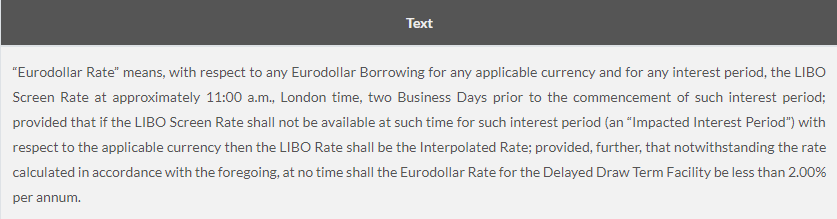 Eurodollar rate is tied to LIBOR